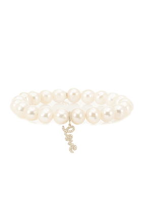 Love 14kt yellow gold, pearl and diamond bracelet