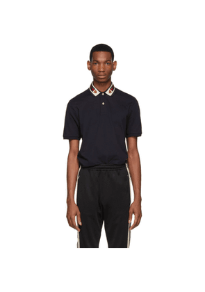 Gucci Navy Feline Head Web Polo