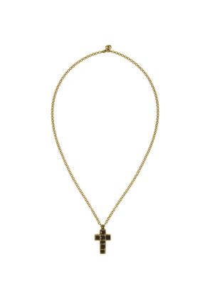 Gucci Black and Gold Medium Cross Necklace