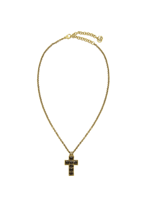 Gucci Black and Gold Small Cross Necklace