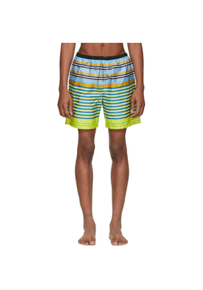 Prada Yellow and Blue Multi Line Swim Shorts