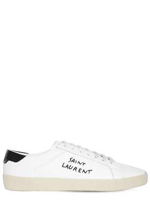 Logo Embroidery Leather Sneakers
