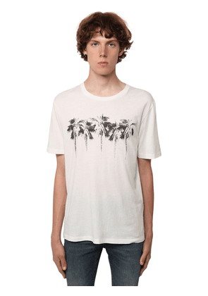 Logo Palm Print Cotton Jersey T-shirt