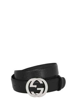 40mm Gg Embossed Logo Leather Belt