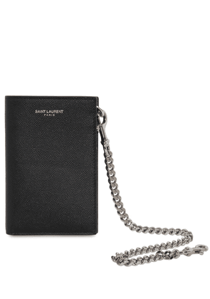 Grained Leather Chain Wallet