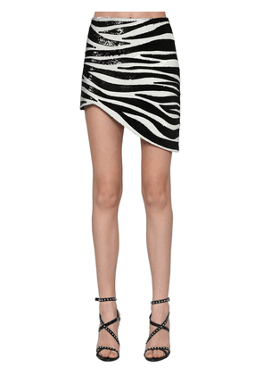 Zebra Sequined Asymmetric Skirt