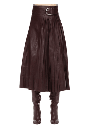 Belted Leather Midi Skirt W/ Pleats