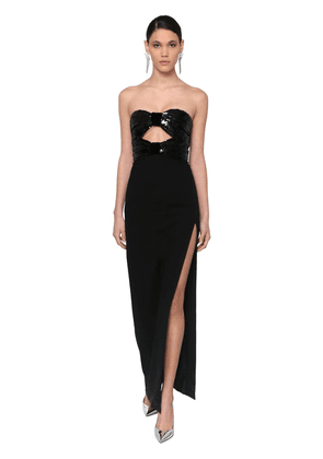 Long Strapless Sequined Crepe Dress