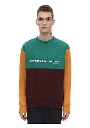 Paneled Color Block Slogan Sweatshirt
