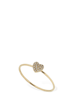 Gold Mini Diamond Heart Stackable Ring
