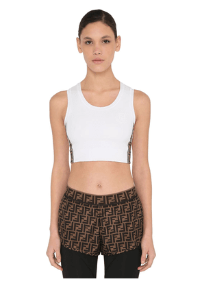 Tech Jersey Crop Tank Top W/ Side Bands