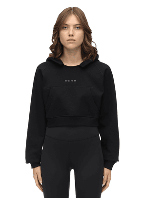 Cropped Logo Cotton Jersey Hoodie