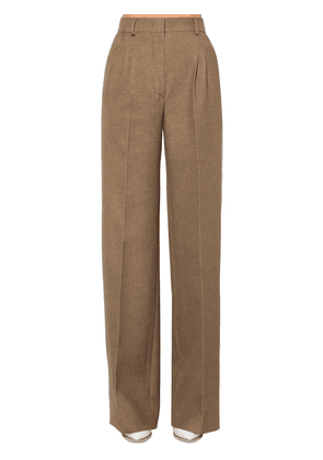 Flared Wool & Silk Flannel Pants