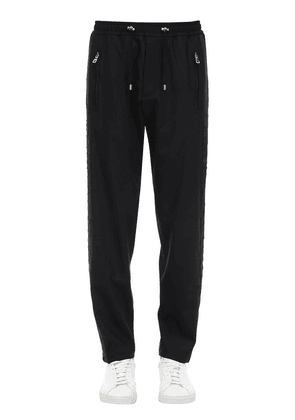 Baggy Wool Blend Pants W/ Side Snaps