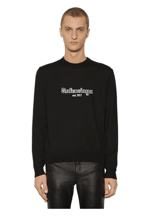 Embroidered Logo Wool Knit Sweater