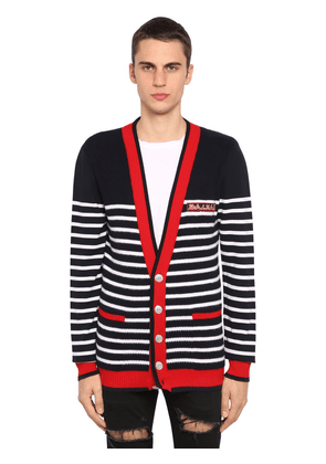 Striped Logo Virgin Wool Knit Cardigan