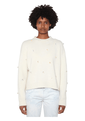 Embellished Wool & Cashmere Knit Sweater