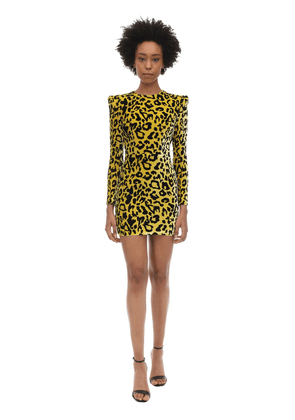 Jax Leopard Print Velvet Mini Dress