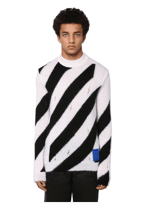 Destroyed Diag Mohair Blend Knit Sweater