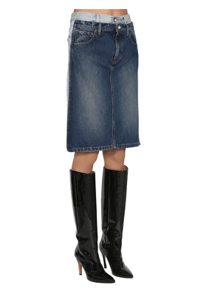 Double Waist Bicolor Denim Midi Skirt