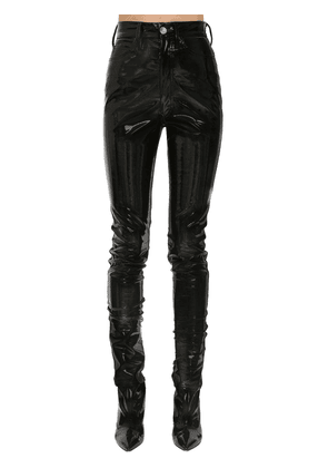 Stretch Vinyl Coated Skinny Pants