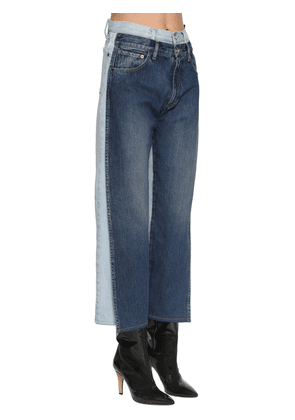 Double Waist Bicolor Cotton Denim Pants