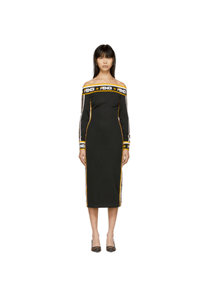 Fendi Black Fendi Mania Off-The-Shoulder Dress