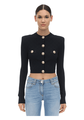 Cropped Viscose Blend Knit Jacket