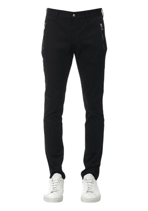Embroidered Cotton Denim Chino Pants