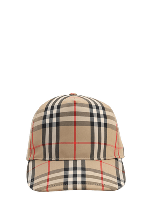Vintage Check Print Canvas Baseball Hat