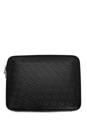 Tb Logo Embossed Leather Laptop Case