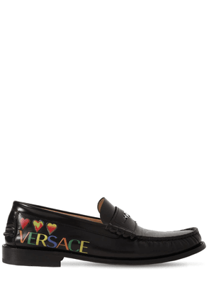 Printed Hearts Leather Loafers