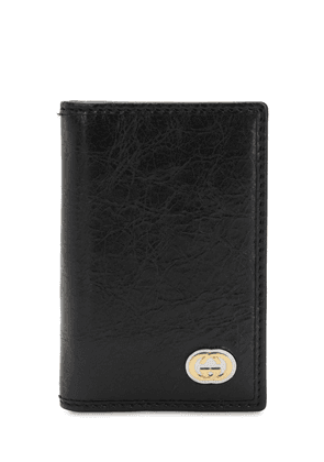 Gg Metal Leather Card Wallet