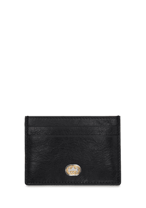 Gg Metal Leather Card Holder