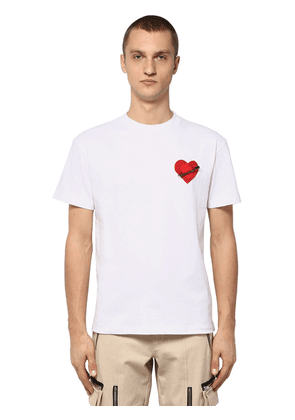 Cotton Jersey T-shirt W/ Heart Patch