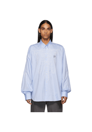 Doublet Blue Skeleton Embroidery Shirt