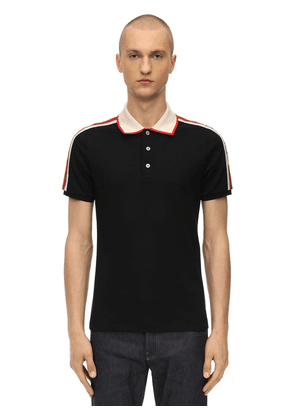 Logo Tape Stretch Cotton Piqué Polo
