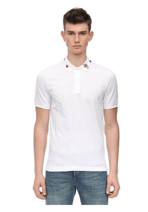 Embroidered Stretch Cotton Piqué Polo