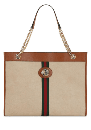 Large Rahah Canvas & Leather Tote Bag