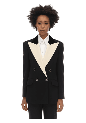 Double Breasted Wool & Silk Cady Jacket