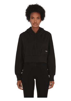 Stacked Badge Cropped Cotton Hoodie