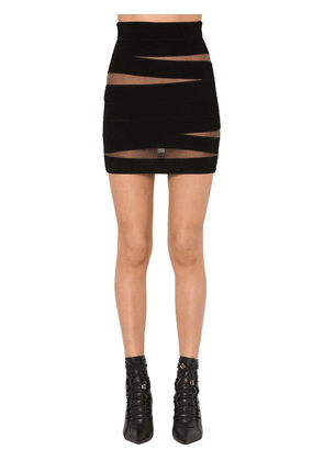 Cut Out Ribbed Knit Mini Skirt W/tulle