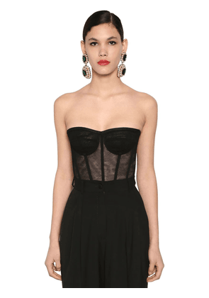 Sheer Cotton Stretch Tulle Corset