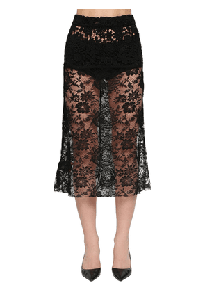 Flared Chantilly Lace Midi Skirt