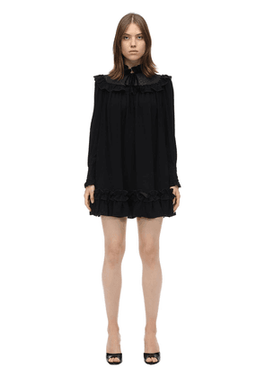 Ruffled Viscose Crepe Mini Dress