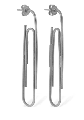 Matte Silver Paper Clip Earrings