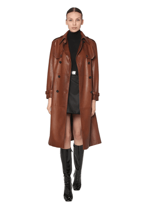 Double Breasted Leather Trench Coat