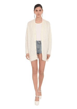 Oversize Mohair Knit Cardigan W/crystals
