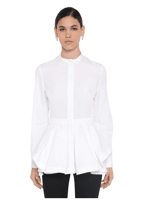 Cotton Piquet & Poplin Peplum Shirt