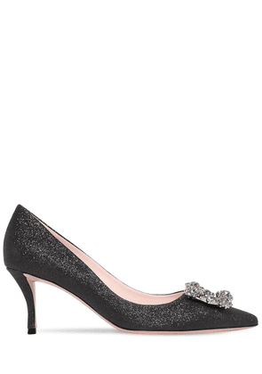 65mm Embellished Flower Glittered Pumps